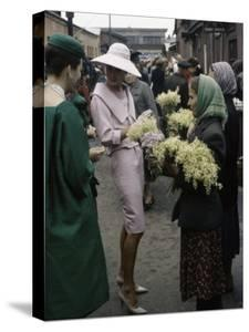 Dior Models in Soviet Union for Officially Sanctioned Fashion Show Visiting Flower Market