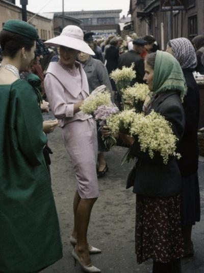 Dior Models in Soviet Union for Officially Sanctioned Fashion Show Visiting Flower Market--Photographic Print