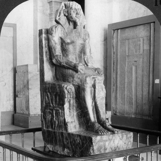 Diorite Statue of King Khafre, Builder of the Second Pyramid of Gizeh, Cairo, Egypt, 1905-Underwood & Underwood-Photographic Print