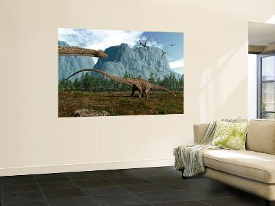 Diplodocus Dinosaurs Graze While Pterodactyls Fly Overhead-Stocktrek Images-Wall Mural
