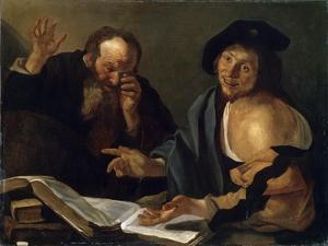 Heraclitus and Democritus, Early 17th Century by Dirck van Baburen