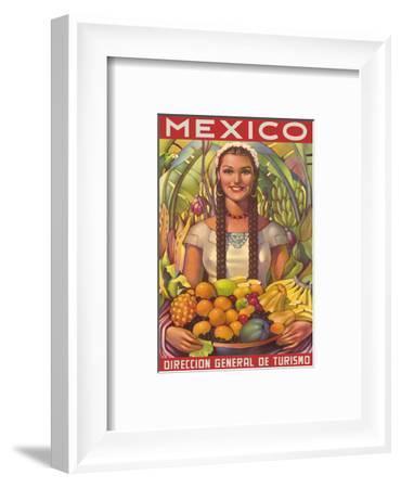 Direccion General de Turismo: Mexico - Plenty of Fruit-Jorge Gonzalez Camarena-Framed Art Print