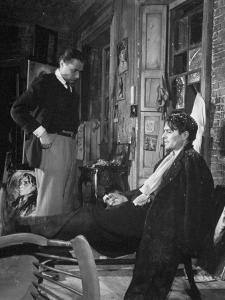"""Director Carol Reed Working with Actor James Mason on Set of the Moive """"Odd Man Out"""""""