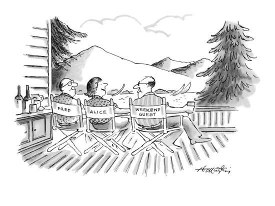 Directors' chairs on deck of summer house are occupied by Fred, Alice, and? - New Yorker Cartoon-Henry Martin-Premium Giclee Print