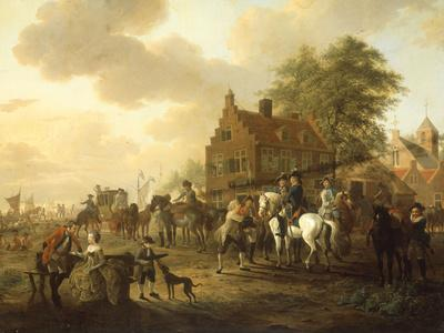A Detachment of Cavalry with a Coach and other Soldiery outside a Harbourside Inn, 1777