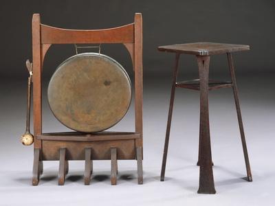 An Oak and Bronze Dinner Gong, Circa 1902, a Rare Oak Drink Stand, Model 9929, Circa 1901