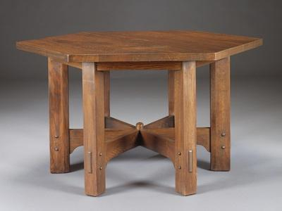 An Oak Hexagonal Library Table, Circa 1912