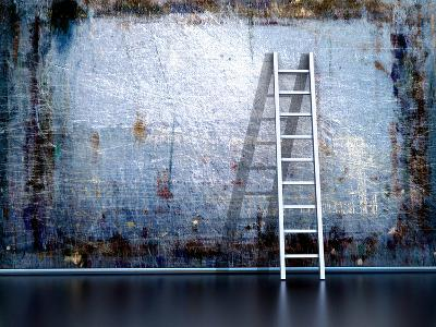 Dirty Grunge Wall With Wooden Ladder-ArchMan-Photographic Print