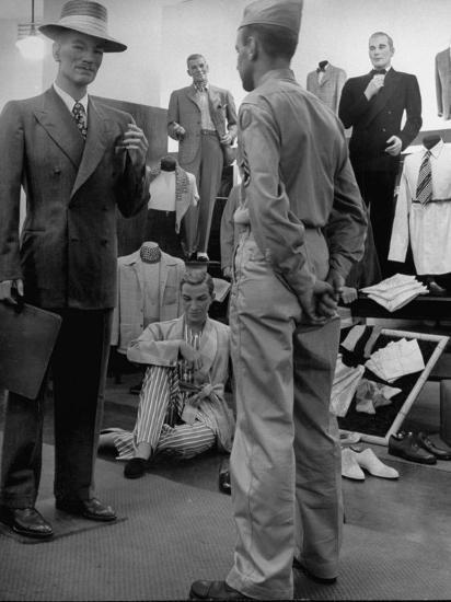 Discharged Gi Looking at New Suit Fashions-Nina Leen-Photographic Print