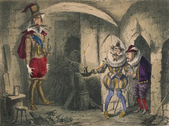 Discovery of Guido Fawkes by Suffolk and Mounteagle, 1850-John Leech-Giclee Print