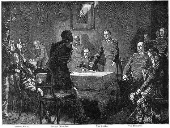 Discussing the Surrender of France after the Battle of Sedan, Franco-Prussian War, 1870-Georg Bleibtreu-Giclee Print