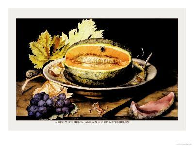 Dish with Melons and a Slice of Watermelon-Giovanna Garzoni-Art Print