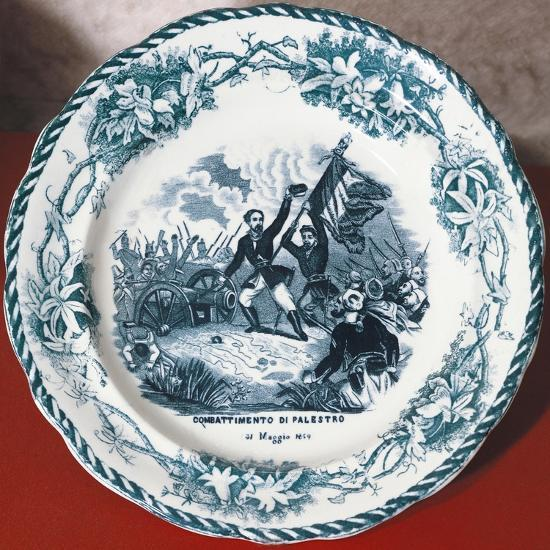 Dish with Scene of Battle of Palestro, May 31, 1859, Ceramics--Giclee Print