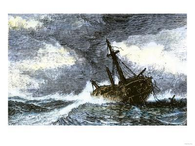 Dismasted Ship Driftng at Sea after a Storm--Giclee Print