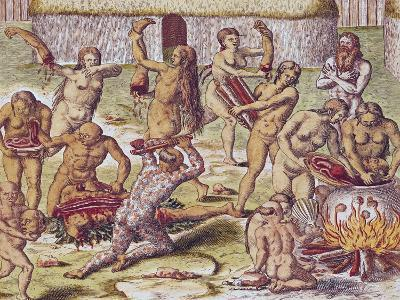 """Dismembering and Cooking an Enemy, from """"Americae Tertia Pars.."""", 1562-Theodor de Bry-Giclee Print"""