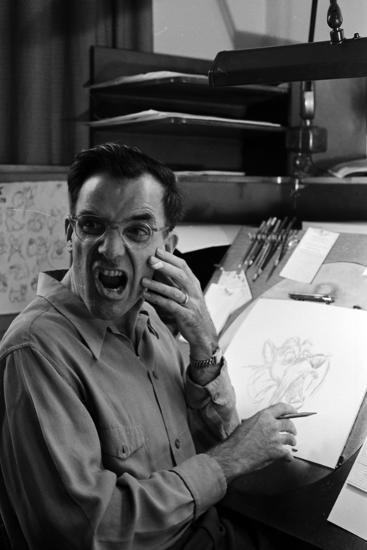 """Disney Artist Frank Johnson Works on a Drawing from """"Lady and the Tramp,"""" Burbank, CA, 1953-Alfred Eisenstaedt-Photographic Print"""