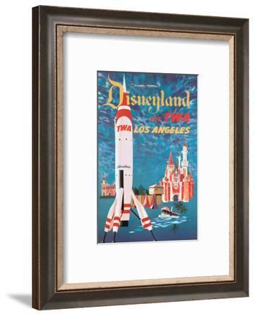 Disneyland - Los Angeles - Fly TWA (Trans World Airlines) - Tomorrowland TWA Moonliner-David Klein-Framed Art Print