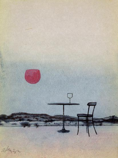 Displaced Red Wine from Glass on Outside Table Becomes the Setting Sun-George Adamson-Giclee Print