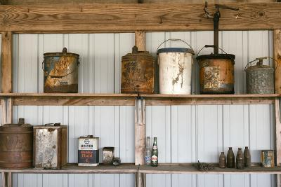 Display of Antique Buckets and Bottles, Cuba. Missouri, USA. Route 66-Julien McRoberts-Photographic Print