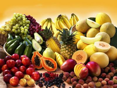 Display of Exotic Fruit with Stone Fruits, Berries and Avocados--Photographic Print