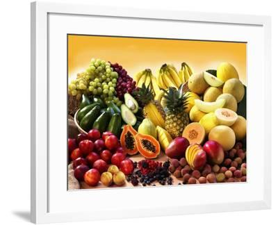 Display of Exotic Fruit with Stone Fruits, Berries and Avocados--Framed Photographic Print