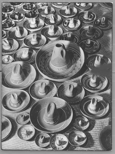 Display of Sombrero Ashtrays Hand Painted by Mexican Natives for Sale at Macy's Department Store-Margaret Bourke-White-Photographic Print