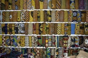 Display of Textiles and Fabrics at Market in Kumasi, Ghana