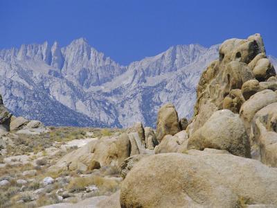 Distant Granite Peaks of Mount Whitney (4416M), Sierra Nevada, California, USA-Anthony Waltham-Photographic Print