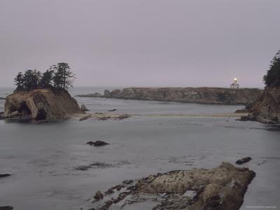 Distant View of the Cape Arago Lighthouse, Oregon-Phil Schermeister-Photographic Print
