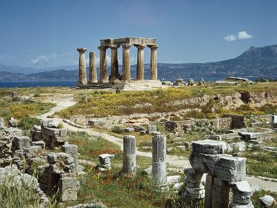 Distant View of the Temple of Apollo at Corinth-Bettmann-Photographic Print