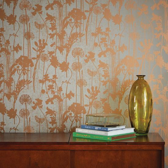 Distressed Floral Grey Metallic Copper Self Adhesive Wallpaper Home Accessories By Art Com