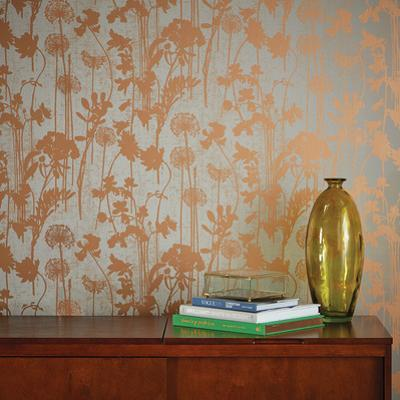 Distressed Floral Grey & Metallic Copper Self-Adhesive Wallpaper
