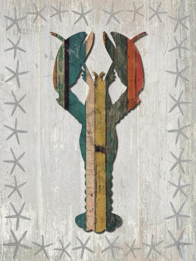 Distressed Wood Style Lobster 1-Fab Funky-Art Print