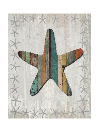 Distressed Wood Style Starfish 1-Fab Funky-Art Print
