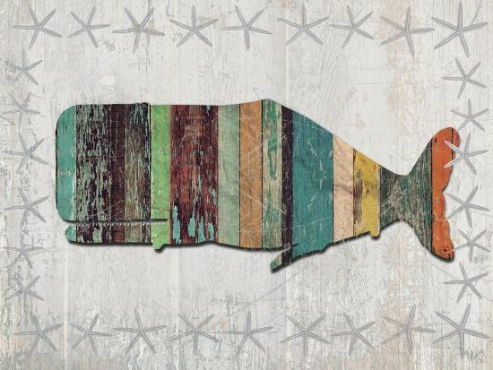 Distressed Wood Style Whale 1-Fab Funky-Art Print