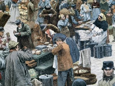Distribution of Onion Soup in Les Halles Market in Paris, 1884--Giclee Print