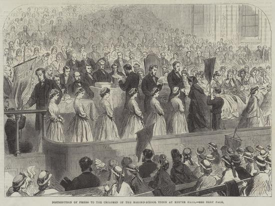 Distribution of Prizes to the Children of the Ragged-School Union at Exeter Hall--Giclee Print