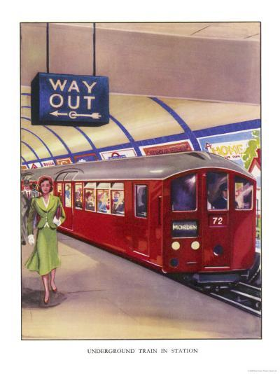 District Line Train in the Standard Red Colour on Its Way to Morden Southwest London--Giclee Print