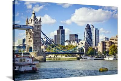 Dity of London & Tower Bridge--Stretched Canvas Print