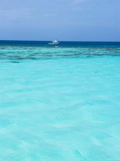 Dive Boat Outside Coral Reef Anchored with Diveres in the Water, Ambergris Caye, Belize-James Forte-Photographic Print