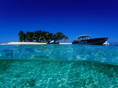 Dive Boats off Island, South Water Caye, Stann Creek, Belize-Mark Webster-Photographic Print
