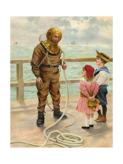 Diver and Children--Giclee Print