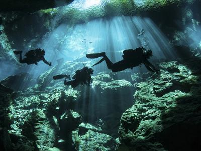 Diver Enters the Cavern System in the Riviera Maya Area of Mexico--Photographic Print