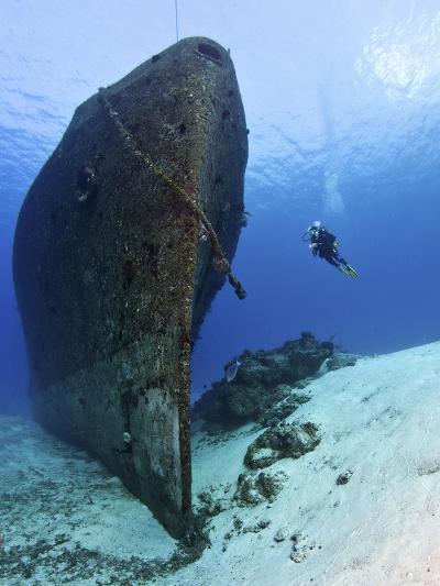 Diver Exploring the Felipe Xicot?Ncatl Shipwreck in Cozumel, Mexico--Photographic Print