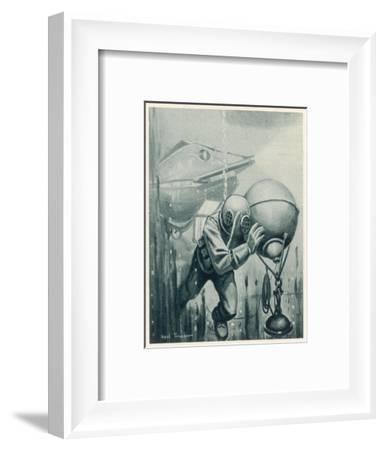 "Diver from a ""Simon Lake"" Submarine Placing a Mine in Channels Used by Enemy Ship 2 of 2-Neal Truslow-Framed Giclee Print"