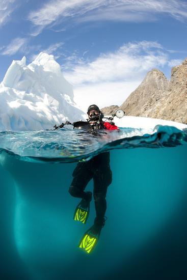 Diver in Front of an Iceberg, Astrolabe Island, Antarctic Peninsula, Antarctica--Photographic Print