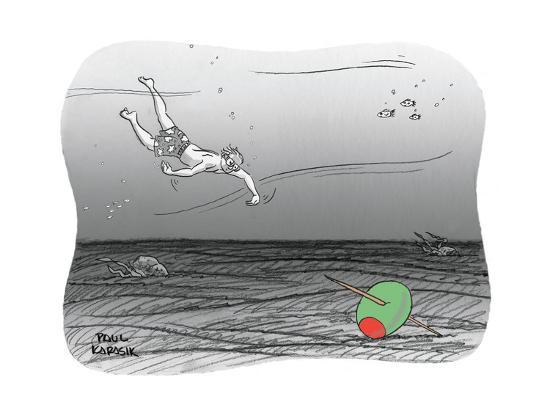 Diver reaches for martini olive. - New Yorker Cartoon-Paul Karasik-Premium Giclee Print