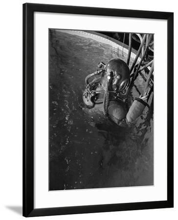 Diver Wearing Deep Sea Diving Suit in the Water--Framed Photographic Print