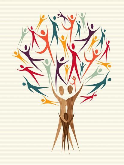 Diversity People Tree-cienpies-Art Print