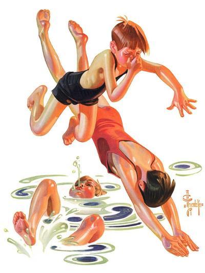 """""""Diving In,""""June 8, 1935-Joseph Christian Leyendecker-Giclee Print"""